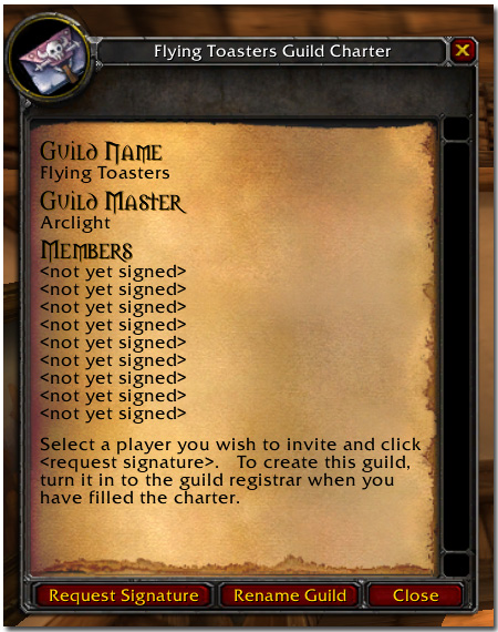 how to request signature for guild charter
